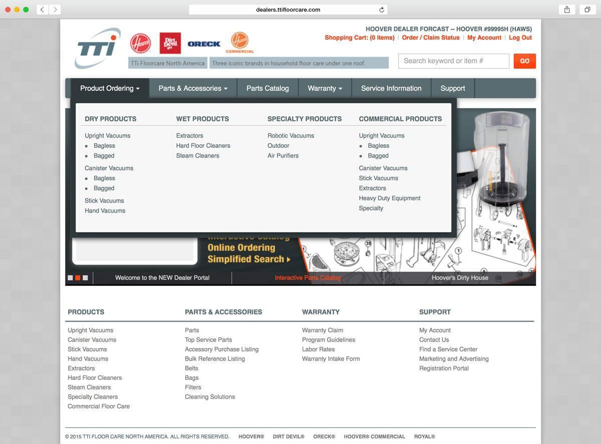 TTI Floor Care Dealer Portal