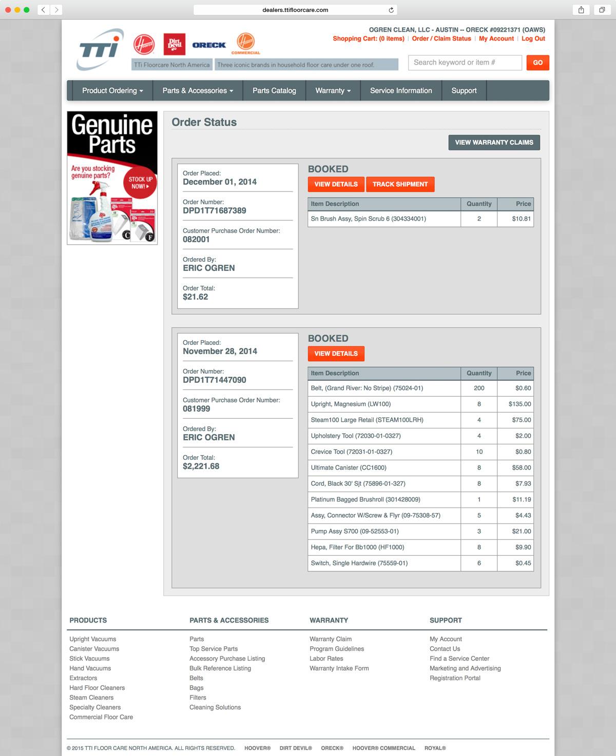 TTI Floor Care Dealer Portal. View Website.